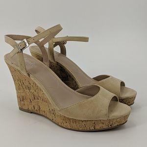 NWT CHARLES DAVID Cork Wedge Sandals